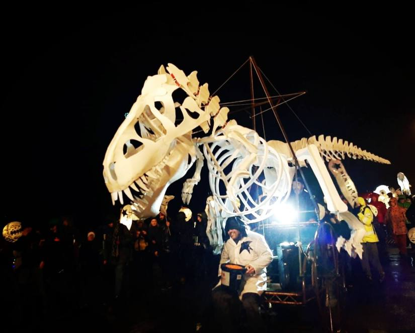Picture of a dinosaur lantern at the Burning the Clocks festival in Brighton 21.12.2019