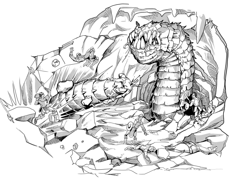 Illustration of purple worm