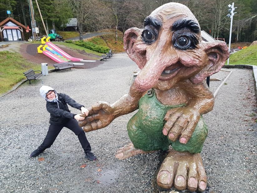 Photo of a troll statue in Fløyen, Bergen, 1.12.2018