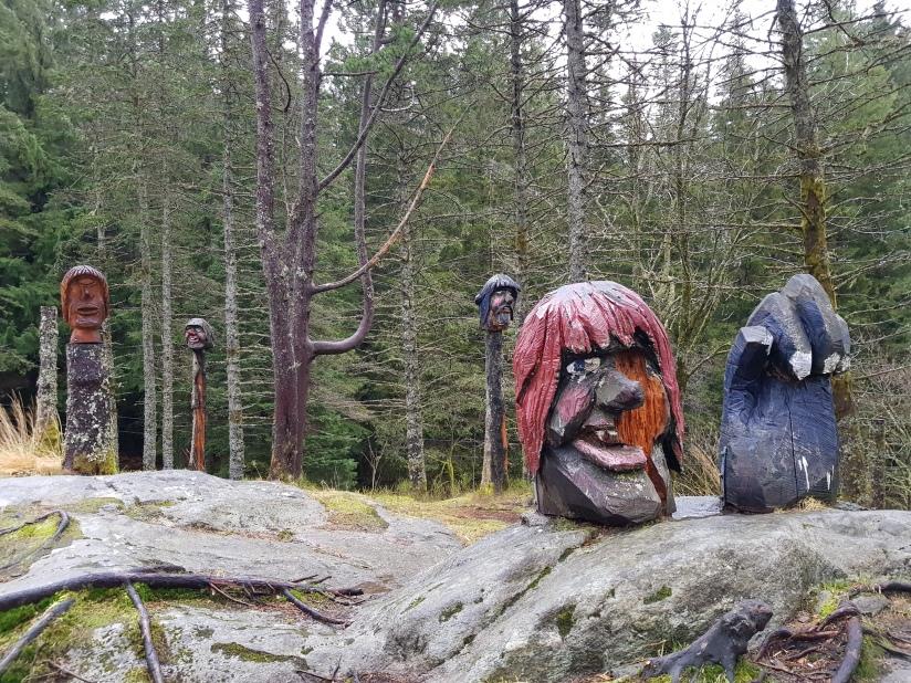 Photo of a group of troll statues in Fløyen, Bergen, 1.12.2018